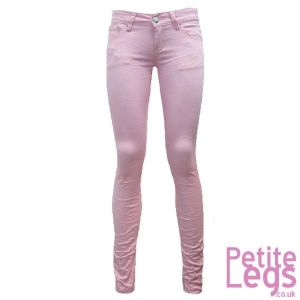 Isabel Crinkle Skinny Jeans in Baby Pink | UK Size 12 | Petite Leg Inseam Select: 24 - 30 inches